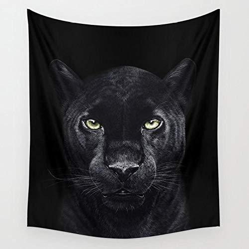 wymhzp Pantera sobre Tapiz Negro Animal Colgante de Pared Colcha Colchoneta de Playa Tapices Psicodélicos Decoración del hogar 130 × 150 cm