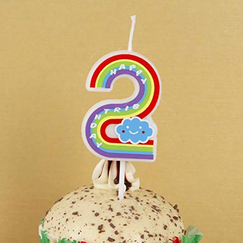 TUANTUAN 1 Pcs Birthday Creative Rainbow Candle Number 0-9 Children Birthday Cake Candle for Party Cake Decoration (Number2)