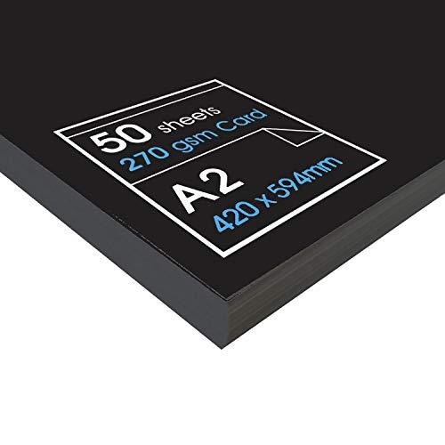 Artway - Recycelter Karton - 270 g/m² - Größe A1, A2 & A3 - Schwarz - A2 - 50 Blatt