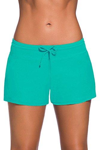 Discovery Costume da Bagno da Donna Tankini Side Split Plus Size Bottom Board Shorts Verde XXL