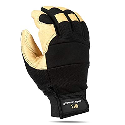 Men's Heavy Duty Leather Palm and Spandex Work Glove