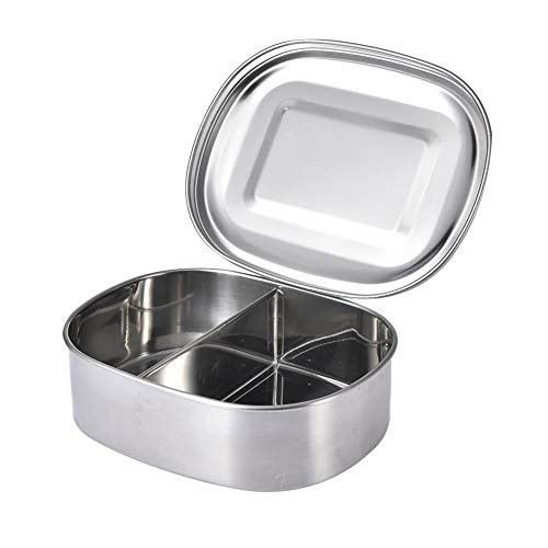 Niyin204 Rectangular Divided Bento Box Stainless Steel 1/2/3 Compartments Perfect for Adults Bento Box for Children Lunch at School Sandwich Eco Friendly