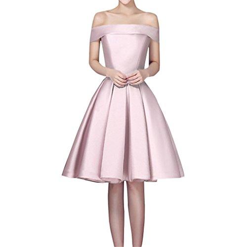 Shiningdress Women's Elegant Boat Neck Satin Mini Party Prom Gown Size 14 Pink (Apparel)