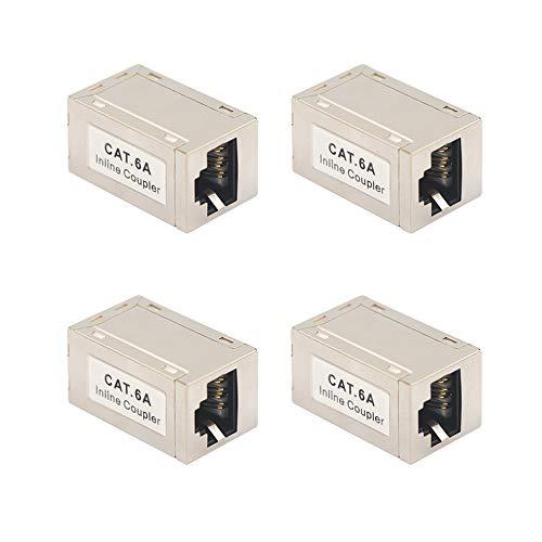 VCE 4 Stück LAN Verbinder CAT6A LAN Kabel Kupplung Ethernet Verlängerung RJ45 Kupplung