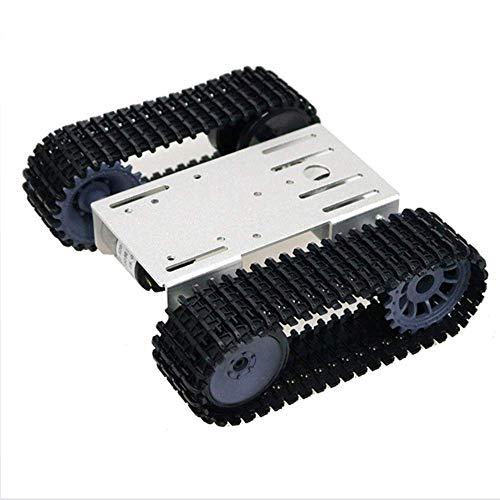 ACC Verfolgte Tank-Chassis-Plattform-Fernbedienung mit doppeltem 12V DC-Getriebemotor und Metallpaneel und intelligenter Roboter für DIY Arduino-Spielzeug,Silber