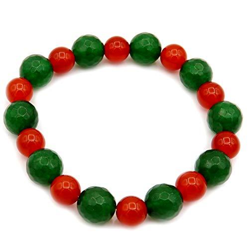 Verde y rojo jade elástico pulsera de piedras preciosas Jade pulsera de cuentas Jade joyería jade piedra pulsera verde jade