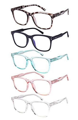 5-Pack Blue Light Blocking Reading Glasses, 1.5 Computer Readers For Women and Men Lightweight with...