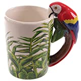 WANGSHI Lindo Loro Porcelana Taza 3D Stereo Bird Water Cup Pintado A Mano Animal Mango Taza 301-400ml Loro