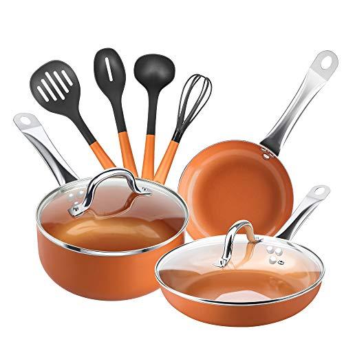 Shineuri 9 Piece Copper Cookware Pans And Pots Set.