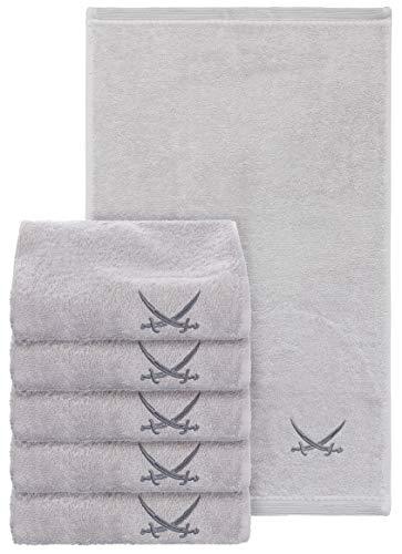 Sansibar Set di 6 asciugamani per ospiti, 30 x 50 cm, 100% cotone, con logo ricamato, set di asciugamani e sapone, colore: argento