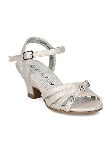 Alrisco Girls Open Toe Rhinestone Flower Ankle Strap Kiddie Heel Sandal HC28 - Ivory Leatherette (Size: Little Kid 11)