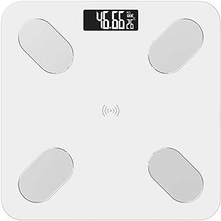 UYZ Báscula de baño Inteligente Profesional Báscula de Piso para el hogar Báscula de Peso Digital electrónica de precisión Báscula de Grasa Aplicación Bluetooth Duradera (Color: Transparente)
