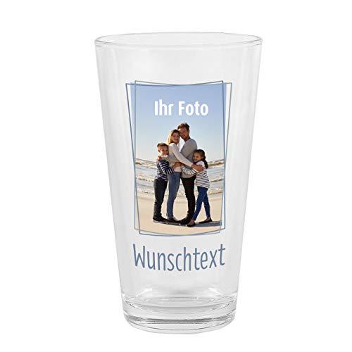 Herz & Heim® Trinkglas mit Bild und Wunschtext - dein Lieblingsfoto in Szene gesetzt Hochkant