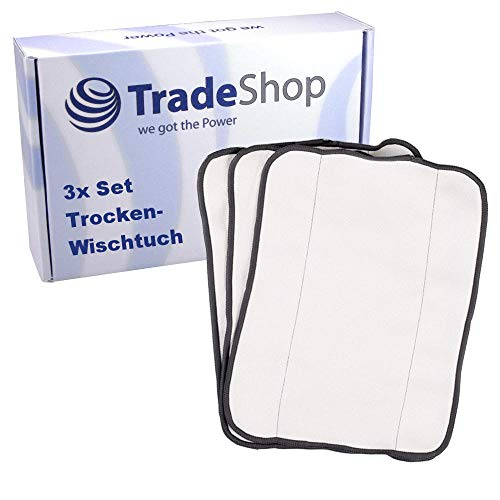 3in1 Set Trockenwischtuch Mikrofasertuch Staubwischer Wischtücher Bodentuch für iRobot Braava 320, 320t, 321, 380, 380t, 390, 390t, Mint 4200 4205, Mint Plus 5200 5200C