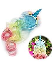 Unicorno Cerchietto per Capelli con Parrucca Fascia Unicorno Corna con Fiori Unicorno Hairband Unicorno Headwear per Festa Decorazione Halloween Accessori Costumi Cosplay Compleanno Regalo