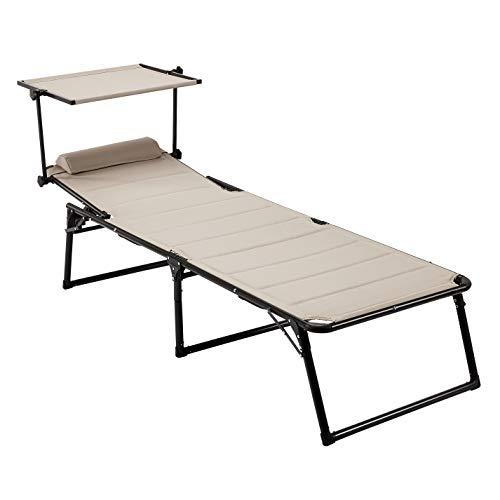 AmazonBasics - Tumbona de aluminio plegable de tres patas con toldo, acolchado de secado rápido, envoltura de chal, 5 posiciones ajustables, beige