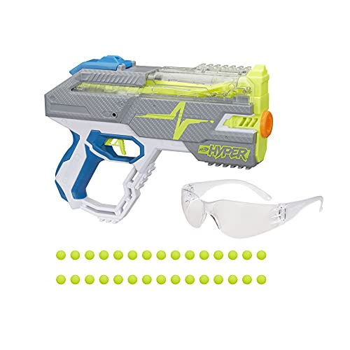 NERF Hyper Rush-40 Pump-Action Blaster, 30 Hyper Rounds, Eyewear, Up to 110 FPS Velocity, Easy Reload, Holds Up to 40 Rounds