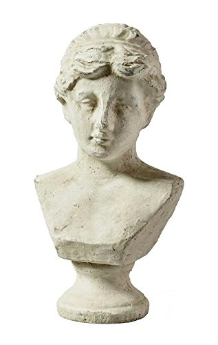 Antike Skultur/Statue - Keramik Damenbüste auf Fuß - Höhe 26cm - Garten & Wohn Ambiente - Dekobüste im Antik Design - Gartenskulptur/Gartenstatue/Keramikfigur