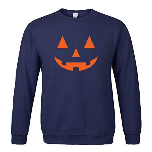 WLZQ Suéter para Hombre Suéter De Manga Larga para Hombre Estampado De Calabaza De Halloween Plus Suéter Sin Capucha De Terciopelo Top para Hombre