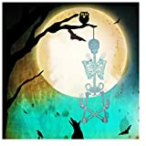 NIHAI Halloween Skeleton Luminous Glow-in-The-Dark Life Size Full Body Poseable Skeleton for Happy Halloween Party Bar Decorations Outdoor Yard Garden Terror Hanging Ornaments Props (C:150cm)