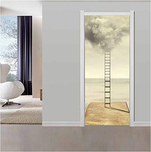 ZPCR Nuevas calcomanías de Pared Mural 3D Pegatina de Puerta DIY Escalera de Nube Abstracta Autoadhesivo Cartel Impermeable impresión Arte Imagen decoración del hogar