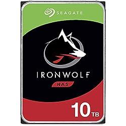 Seagate IronWolf, 10 TB, Hard Disk SATA da 6 GBit/s, HDD, CMR 3,5´´ 7.200 RPM, Cache da 256 MB per NAS con Sistema RAID, 3 anni di servizi Rescue (ST10000VN0004)