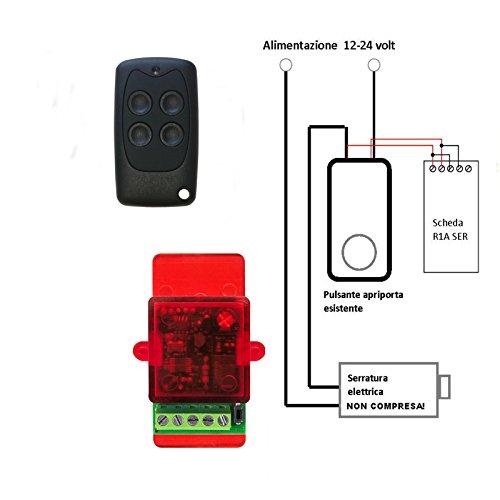 Automatische deuropener met afstandsbediening voor elektrisch slot, 12 – 24 Vca, wordt direct aangesloten op de openingsknop, zonder stroom nodig.