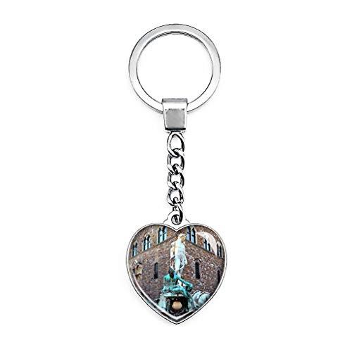 Italien Tuscany Florenz Brunnen Neptun Pierre Schlüsselanhänger Kreativ Doppelseitiger Herzförmiger Kristall Schlüsselanhänger Reise Souvenir Metall