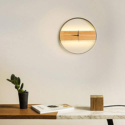 no-branded Room Bedroom Living Room Lighting Decorative Wood Wall Lamp Led Clock Wall Lamp ZHQHYQHHX