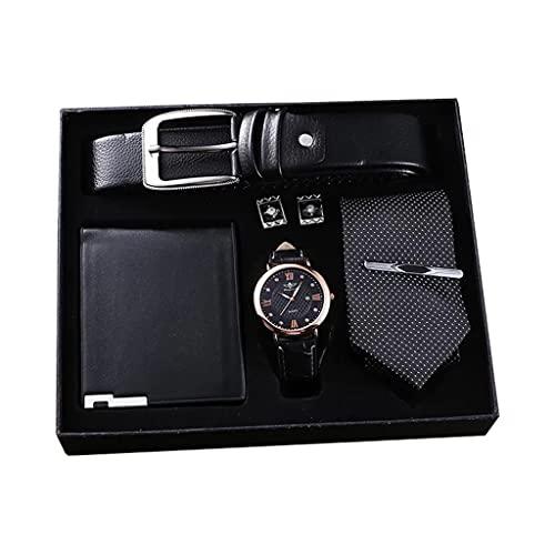 Diaod Reloj de Moda para Hombre, Conjunto de Regalos, cinturón Superior, Reloj de Pulsera de Cuarzo para Negocios, Billetera Plegable, Corbata, Gemelos, Clips de Corbata para Hombres, Padre