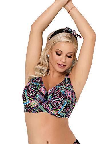 Nessa Women's Fiori Black Multicolour Aztec Soft Cup Bikini Top 32JJ