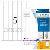 HERMA Etichette per Raccoglitori, 34 x 297 mm, Etichette Adesive A4 per Stampante, 5 Etichette per Foglio, Bianco