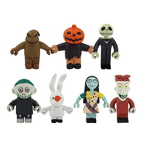 6 unids / Set Pesadilla Antes de Navidad Skellington PVC Figura de acción Mini Modelo Juguetes niños 5-6 cm