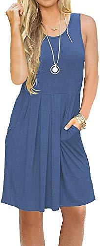 AUSELILY Damen ärmelloses Plissee-Loose-Swing-Freizeitkleid mit knielangen Taschen.(Beja Blue,40-42)