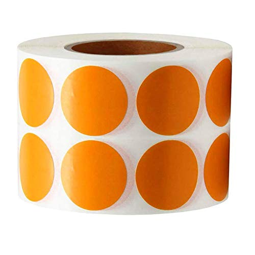 Target Round Color Coding Dot Labels-Circle Dots Stickers-1 Inch Round Sticky Labels-Permanent Adhesive Dots Stickers Writable Paper Labels(1000 Labels) (Orange)