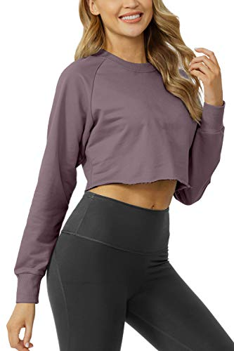 Sanutch Women's Crewneck Crop Sweatshirts Thumbhole Shirts Cute Off Cropped Long Sleeve Tops for Women Lavender Purple S