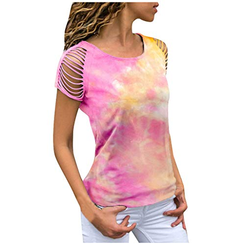 New 7 Women's T- Shirts Loose Tie-dye Print Tunics Hollow Out Short Sleeve Tees Tops Casual O-Neck B...