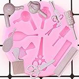 GEYKY Strumenti per Il Trucco di Bellezza dei Capelli della Donna Pettine Specchio per Curling Asciugatrice A Forbice Stampi in SiliconeStrumenti perDecorare LaTorta diCaramelle al Cioccolato