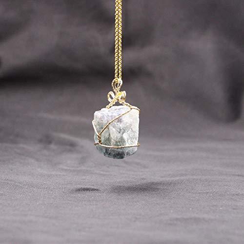 PicZhiwenture Halskette Anhänger Schlüsselbeinkette Kette Hot New Stone Halskette Pure Natural Crystal Amethyst Pulver Kristall Anhänger Multicolor Irregular Natural Stone Halskette-E