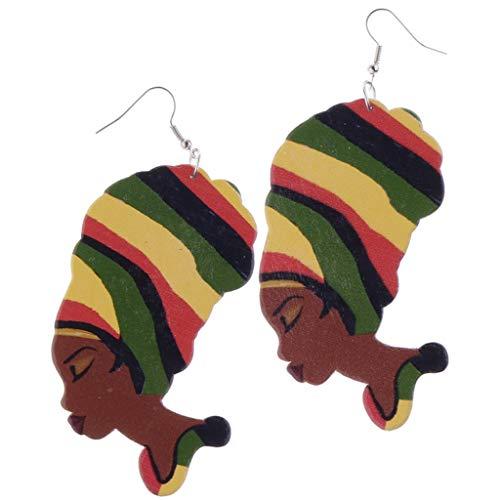 Fenteer Vintage African Lady Woman Head Wooden Hook Earrings Drop Dangle Studs Gift