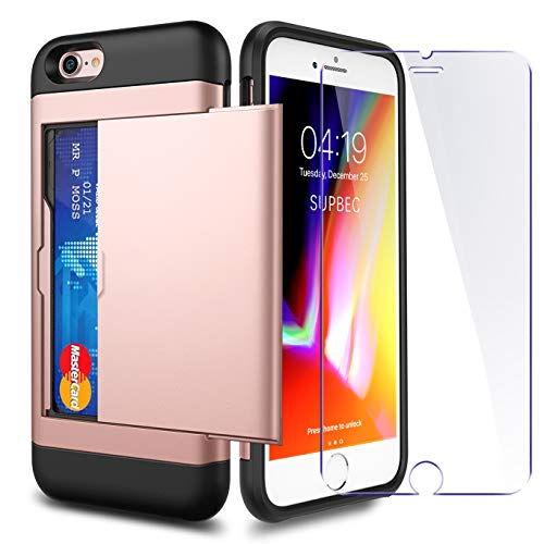iPhone 7 / 8 / SE 2020 Case with Card Holder and[ Screen Protector Tempered...