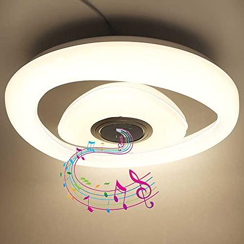 40Cm Luz De Techo Cambia De Color RGB Lámpara De Techo Musical Para Baño Con Altavoz Bluetooth, Aplicación Y Control Remoto, Pantalla De Lámpara Estrellada Para Cocina, Dormitorio