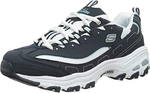 Skechers Sport Women's D'Lites Memory Foam Lace-up Sneaker,Navy/White,8.5 M US