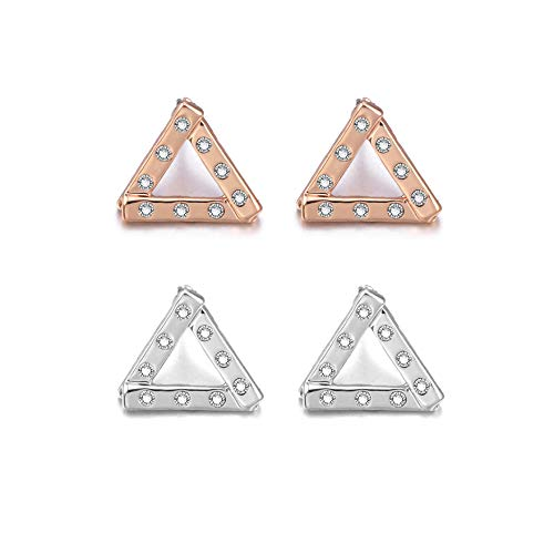 2 Pcs Triangle Earrings For Women's, Cubic Zircon Crystal Inlaid Stud Design, Hypoallergenic Materials, Exquisite Birthday Gifts For Girls