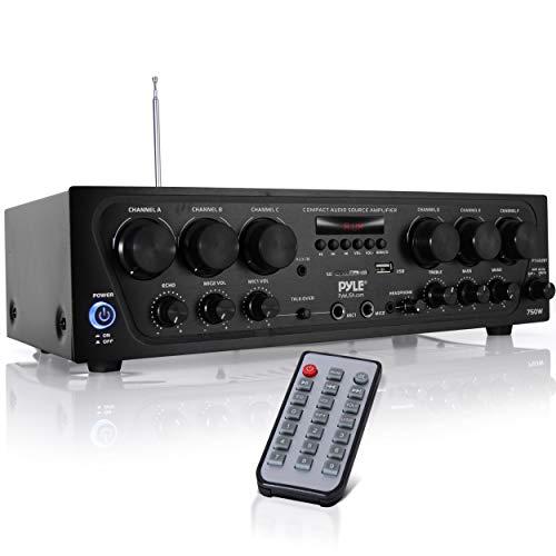 Upgraded 2018 Wireless Bluetooth Karaoke - 6 Channel 750 Watt Home Audio Sound Power Stereo Receiver Amplifier w/ USB, Headphone, 2 Microphone Input w/ Echo, Talkover for PA - Pyle PTA62BT
