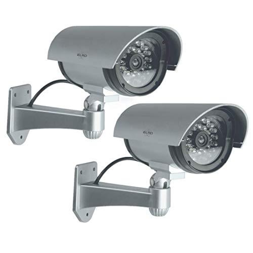 ELRO CDB25S-2 Außen Attrappe Kamera-Dummy Überwachungskamera mit LEDs-2 Pack, 2 Stück