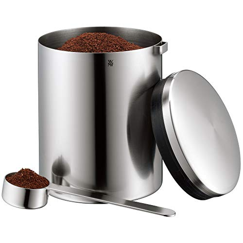 WMF Kult Tee- Kaffeedose für 500g, Edelstahldose mit Maßlöffel, Cromargan Edelstahl mattiert, für Kaffeepulver und Kaffeebohnen, spülmaschinengeeignet
