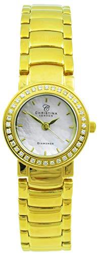 Christina London Damen Analog Quarz Uhr mit Edelstahl Armband 115GW2