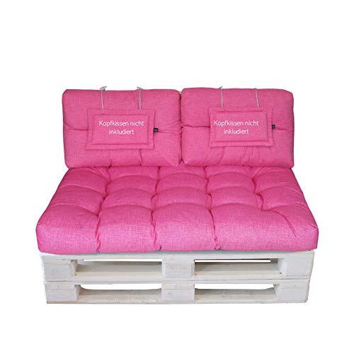LILENO HOME Palettenkissen Set Pink - Set 2: (1x Sitzteil + 2X Rückenteil klein) - Polster für Europaletten - Palettenkissen Outdoor als Sitzkissen für Palettenmöbel