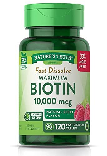 Biotin 10000mcg   120 Fast Dissolve Tablets   Maximum Strength   Hair...